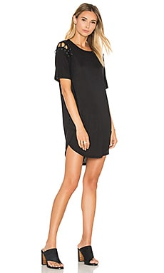Lace Up T Shirt Dress in Classic Black