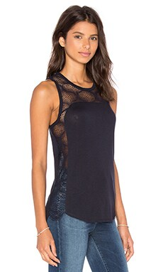 High Low Lace Tank in Dark Navy