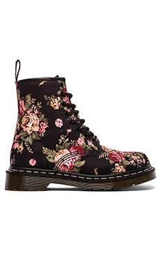Print 8 Eye Boot in Black Victorian Flowers