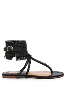 Reagan Sandal in Black Leather