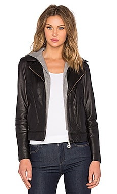 Hooded Leather Jacket in Black