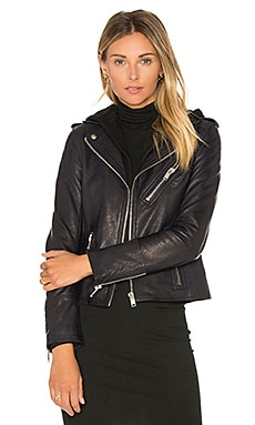 Detachable Hood Moto Jacket in Navy