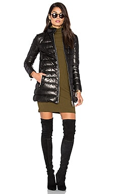 Down Filled Quilted Leather Coat in Black