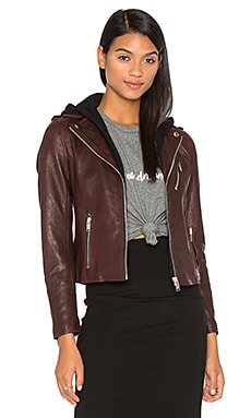 Detachable Hood Moto Jacket in Borgogna