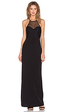 Racer Front Mesh Gown in Black
