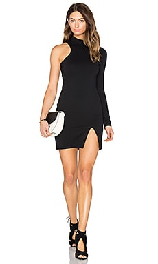 One Sleeve Mock Neck Mini Dress in Black