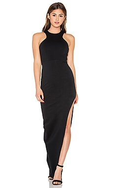 Racer Front Slit Maxi Dress in Black