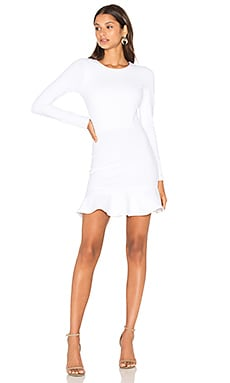 Long Sleeve Ruffle Dress in White