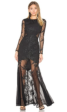 Embroidered Mermaid Gown in Black