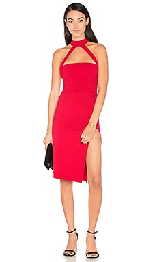Cut Out Strapped Mock Midi Dress in Ruby