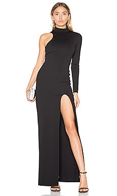 One Sleeve Mock Neck Maxi Dress in Black