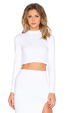 Mock Neck Long Sleeve Crop Top in White