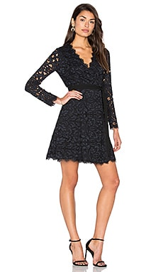 Shaelyn Wrap Dress in Black & Navy