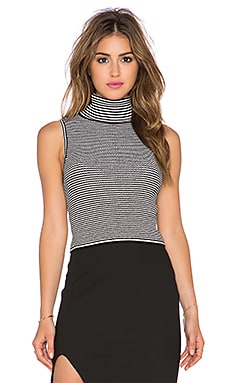 Fitted Turtleneck Tank in Black & Ivory
