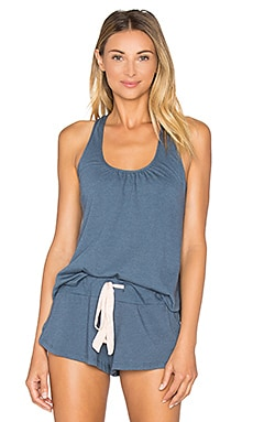 Heather Shelf Bra Racerback Tank in Beach Blue