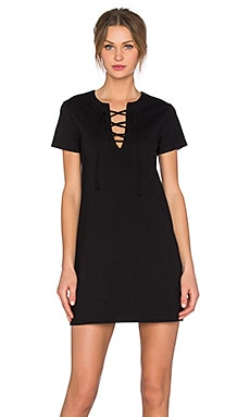 Ponte Lace Front Dress in Black