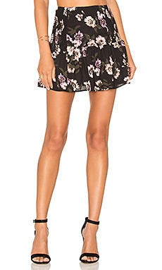 Peach Blossom Mini Skirt in Black & Pink