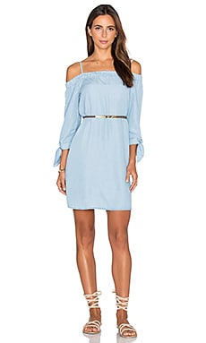 Off Shoulder Shift Dress in Chambray