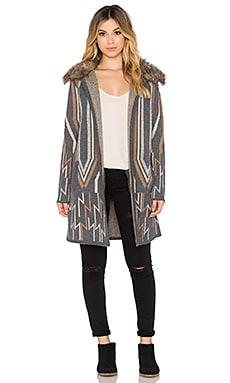 Elsa Faux Fur Coat in Charcoal & Multi