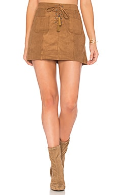 Connelly Faux Suede Skirt in Cognac