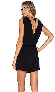 Katella Crossfront Romper in Black