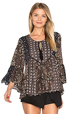 Patchwork Floral Blouse in Black