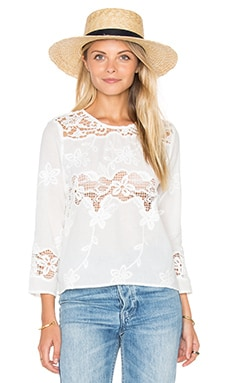 Woven Long Sleeve Top in Off White