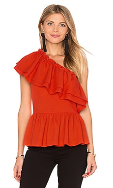 One Shoulder Ruffle Top in Red Orange