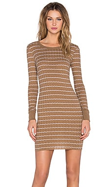Cashmere Long Sleeve Mini Dress in Camel and White