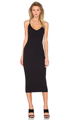 V Neck Tank Midi Dress in Black