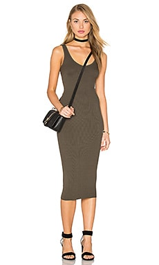 Silk Rib Tank Dress in Olive Drab