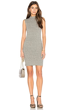 Rib Mock Neck Mini Dress in Heather Grey