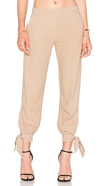 Silk Noil Ankle Tie Easy Pant in Mojave