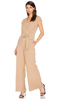 Silk Noil Wrap Tie Jumpsuit in Mojave