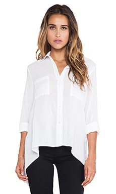 Peasant Hi Lo Shirt in White