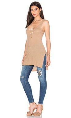 Silk Rib Jersey Side Slit Tank in Mojave