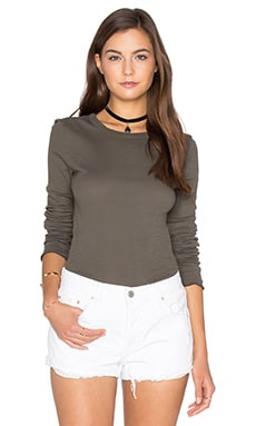 Cotton Slub Rib Fitted Long Sleeve Crew Neck Tee in Olive Drab