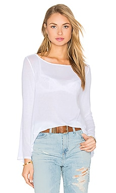 Stretch Crepe Jersey Bell Sleeve Boatneck Top in White