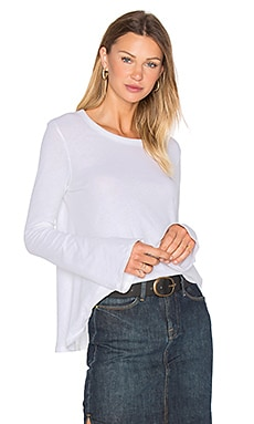 Cashmere Bell Sleeve Flare Top in White
