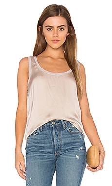 Satin Scoop Neck Tank in Pink Beige