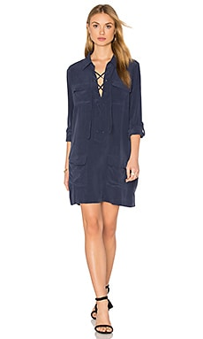 Knox Long Sleeve Button Up Dress in Peacoat