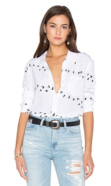 Reese Bird Print Button Up in Bright White & True Black