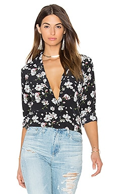 Leema Ditsy Floral Print Button Up in True Black Multi