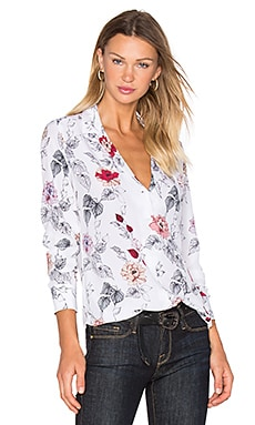 Adalyn Floral Print Button Up in Bright White Multi