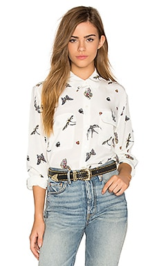 Signature Bird Print Button Up in Nature White Multi