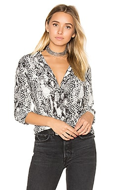 Slim Signature Snake Print Button Up in Nature White & True Black