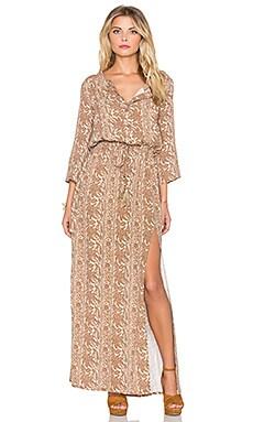 Sunset Meadow Maxi Dress in Golden Mushroom