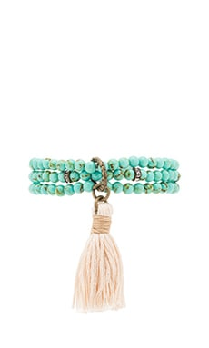 Beaded Wrap Bracelet in Turquoise & Cream
