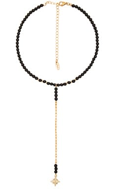 Beaded Drop Necklace in Onyx