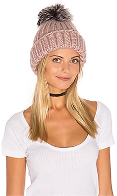Rain Beanie with Artic Fox Fur Pompom in Rose